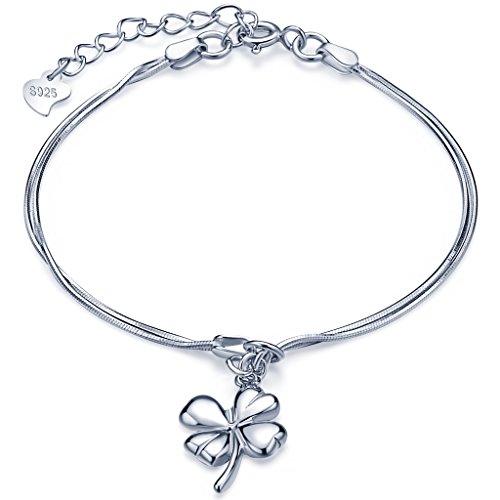 Infinite U, braccialetto da ragazza in argento Sterling 925, con ciondolo a forma di quadrifoglio portafortuna, regolabile, doppia catenella