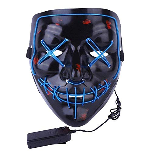 CANASOUR Scary Halloween Mask EL Wire Light up LED Mask for Festival Party Cosplay Costume (Blue) (Light Rave Spielzeug Up)