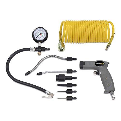 Powerplus Druckluftpistole Kompressorzubehör inkl. Schlauch Manometer 6 Aufsätze