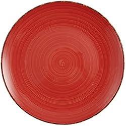 Villa d'Este Baita Juego de 6 Platos Planos de Gres Esmaltado Pintado a Mano, en Rojo