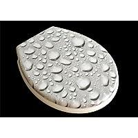"""Siège toilette duroplast modèle """"goutte d'eau"""" avec abattant automatique amovible pour le nettoyage (soft close, descente progression)"""