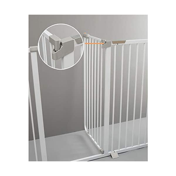 Auto Close White Stair Gate, Safety Gate Room Divider for Dog Pet Baby (Color : High 103cm, Size : 96-103cm) Huo WALL PROTECTION: Safety Gates For Kids or Pets With an extension from 61-215cm, this gate will fit in most doorways quickly and easily EASY TO INSTALL: the safety gate is fixed with four fixing screws by pressure, that means neither drilling or screws are necessary; DURABLE AND CONVENIENT: Tall Thru Gate Made with sturdy metal construction for the ultimate in durability, the play yard is easy to set up and take down. 3