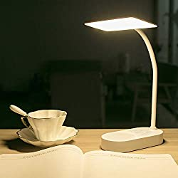 USB Rechargeable Battery Powered Led Desk Table Lamp Home Office, Reading Book Light for Kids Study in Bed Bedroom Bedside Headboard,Touch Dimmable Adjustable USB Charging Port White,Nusery Lamp