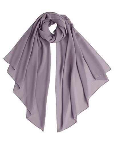 Bridesmay Chiffon Stola Schal für Hochzeit in verschiedenen Farben Grey M 190cm*70cm