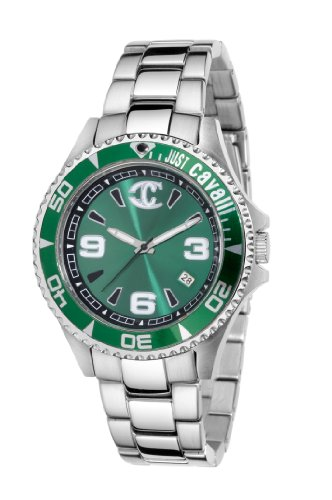 Just Cavalli Ladies Abyss Analogue Watch R7253141095 with Quartz Movement, Stainless Steel Bracelet and Green Dial