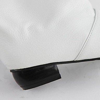 LFNLYX Damen-Stiefel-Outddor / Büro / Lässig-Kunstleder-Blockabsatz-Rundeschuh / Modische Stiefel-Schwarz / Rot / Weiß Black