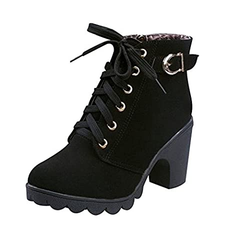 Favoridol Ladies Chunky Block Heel Zipper Lace Up Ankle Boots Shoes Casual (40 EU / 7 UK, Black)