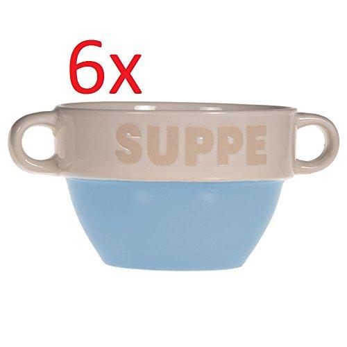 6er Set Suppentasse Suppen Tasse Suppenschüssel Schüssel Suppenterrine Landhaus Blau