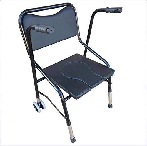 Tragbare Toilette mit Rad Drop Arm Kommode Professionelle multifunktionale Nacht Kommode Hilfsmittel für ältere Menschen & Handicap -