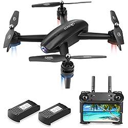 Drone avec Caméra HD 720P WiFi FPV Drone Con Telecamera GPS Quadcopter Double Caméra VR pour Enfant Adulte, Noir