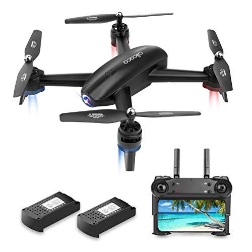 allcaca Drohne mit Kamera HD 720P Doppelkamera FPV RC Quadrocopter GPS für Follow-Me-Gestensteuerung, APP-Betrieb, Höhenhaltung, 3D-Flip, Headless-Modus, VR-kompatibel, 2 Batterien enthalten, Schwarz