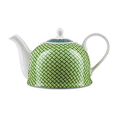 """Théière Igloo Jameson & Tailor/Théière de""""Damier vert"""" / Cafetière en porcelaine brillante de 1200 ml/Convient aux lave-vaisselle et micro-ondes"""