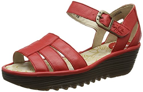 FLY London Rese730, Sandales Bout Ouvert Femme Rouge (Scarlet 003)