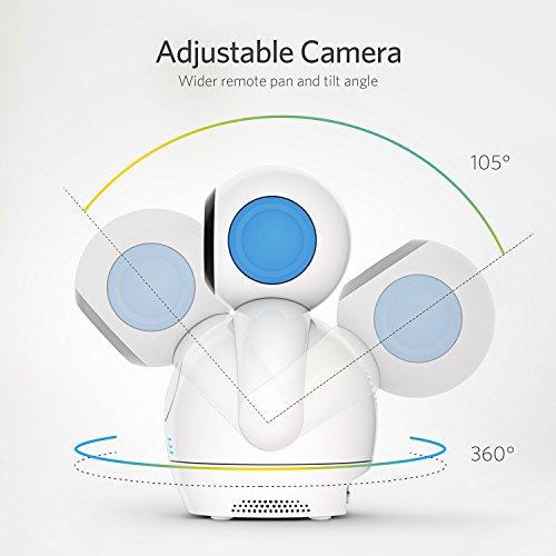 Video Babyphone,HOMIEE Babyphone 360 °Baby Kamera, 5 Zoll LCD Monitor und 300m 2,4G Wireless Verbindung, Wiederaufladbarer Monitor,Ton und Temperaturalarm, Nachtsicht, Wiegenlied und Zweiwege Audio - 3