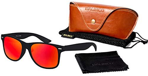 Hochwertige Polarisierte Nerd Rubber Sonnenbrille im Set (24 Modelle) Retro Vintage Unisex Brille mit Federscharnier (Black - Red Mirror)