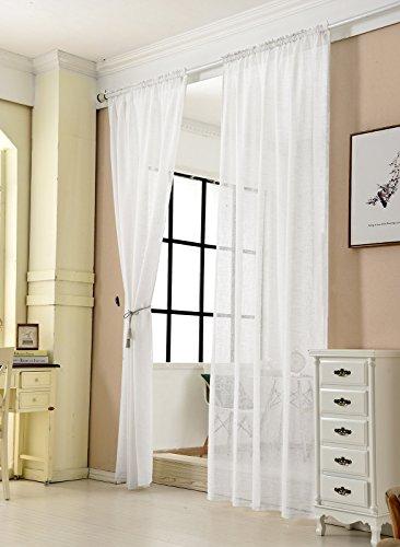2er Set Gardinen transparent mit Kräuselband Leinen Optik, Doppelpack Vorhang Stores Voile Fensterschal Dekoschal für Wohnzimmer Kinderzimmer Schlafzimmer, 140x225 cm, Weiß ()