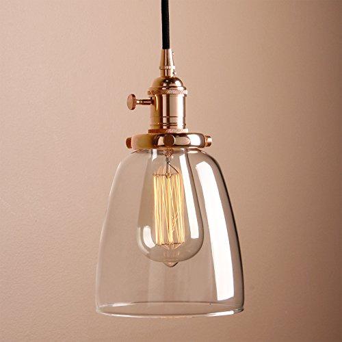 Kupfer-glas-lampe (Pathson Industrie Loft-Pendelleuchte Antik Deko Design Klar Glas innen Pendelleuchte Hängeleuchte Vintage Hängelampen Hängeleuchte Pendelleuchten (Kupfer Farbe))