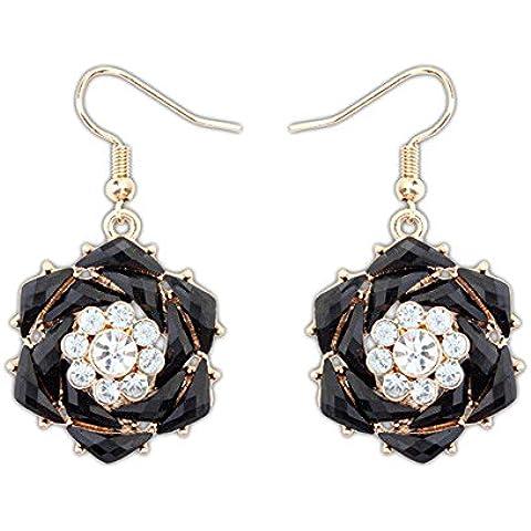 Centro de color negro de resina y flor de cristal pendientes de gota