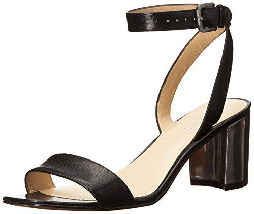 Nove in pelle occidentale tullip tacco del sandalo Black
