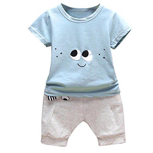 Neugeborene Kleidung Babykleidung T-Shirt Hosen Outfits Baby Junge Mädchen Tops Hosen Outfits Kleidung Sets Baby Strampler Mädchen Beiläufig Overall Blumen Hose Outfit Set LMMVP (Blau, 70CM (6M))