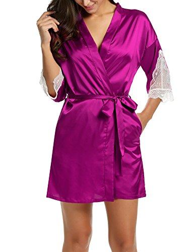 BeautyUU Damen Satin Kimono Nachthemd Morgenmantel Bademantel Kurze Schlafanzüge mit Blumenspitze Nachtwäsche mit Tiefer V-Ausschnitt XS-XXL (Spitze Handtuch)