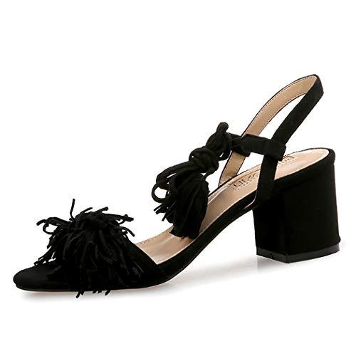 Mzq-yq Womens Cross Strap Strap High Heel Sandals Ladies Party Prom Bridal Bridal Sandals Open Toe Shoes Tassel,Black,39 -