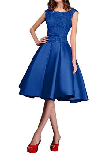 Royaldress Blau Spitze Knielang Satin Abendkleider Promkleider Brautmutterkleider A-linie Kurz Rock Royal Blau
