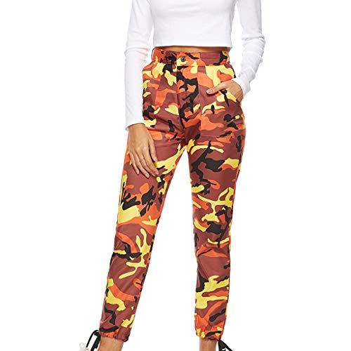 XNBZW Damen Sport Camouflage Hip Hop Cargo Gürtel Laufhose Bunt Sporthose Seiten Taschen Reißverschluss Multi-Pocket Jogger Pants Trainingshose Outdoorhose (Orange,XXL)