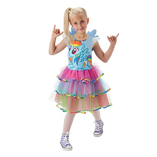 Mädchen Pony Kostüm Mit - Rubie's 3620099 - MLP Rainbow Dash Deluxe - Child, Action Dress Up