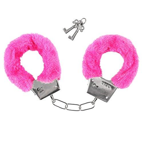 Preisvergleich Produktbild Cowboyhut Cowboy Hut Hütte Karnevalhut Polizeihut Texashut - Zubehör Handschellen Plüsch Pink