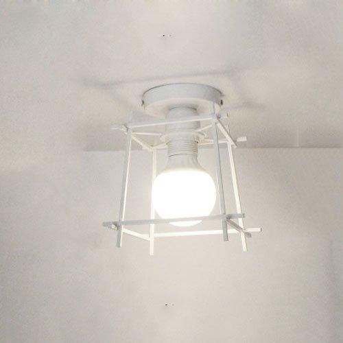 Desinger Lámpara de Techo Cuadrada Simple Lámpara de Techo país Americano Pasillo Europeo nórdico Entrada de Paso Balcón Habitación de Estudio Dormitorio Lámparas de Hierro (Color : White)
