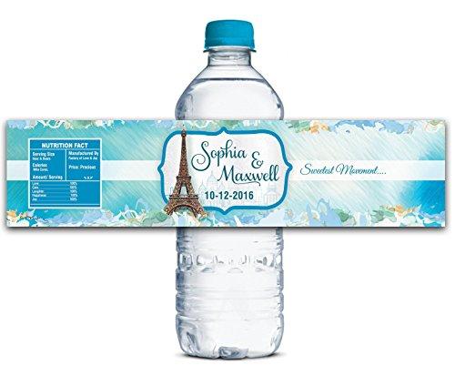 Hochzeit Personalisierte Wasserflasche Etiketten Wasserdicht Benutzerdefinierte Paris Thema Aufkleber 8
