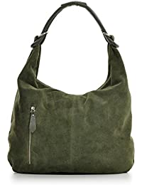 Damen Schultertasche Leder, Hobo-Bag, Leder Handtasche Damen, CNTMP, Beuteltasche Wildleder, Leder-Tasche DIN-A4, 44x36x4cm (B x H x T)