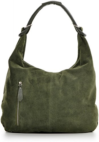 CNTMP Damen Schultertasche Leder, Hobo-Bag, Leder Handtasche Damen, Beuteltasche Wildleder, Leder-Tasche DIN-A4, 44x36x4cm (B x H x T), Farbe:Khaki -
