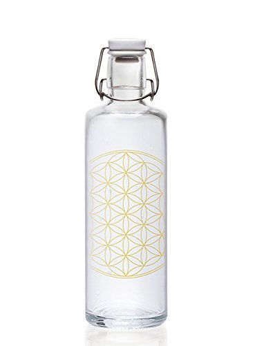 Soulbottles 1,0l Trinkflasche aus Glas • Verschiedene Designs, Made in Germany, vegan, plastikfrei, Glastrinkflasche, Glasflasche (Flower of Life • Blume des Lebens)