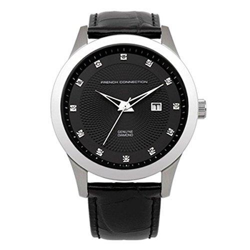 French Connection FC1135B - Reloj analógico de cuarzo para hombre, correa de cuero color negro