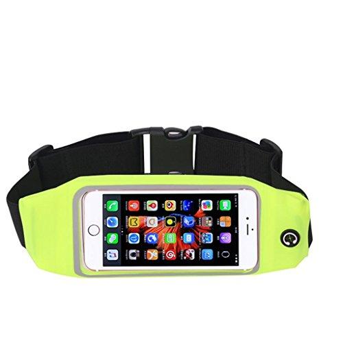 TRRE Bewegung Taschen elastischer Bund Männer und Frauen Marathon Ausrüstung Multifunktions-Touchscreen-Handy Taschen, 5 Zoll so gilt für Ihr Handy Fluorescent Green