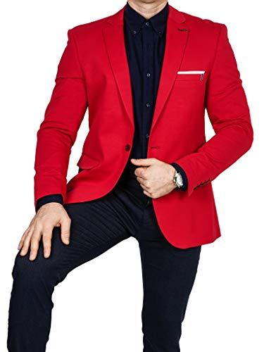 Armina Exclusive Herren Sakko Leichter Stoff Blazer Einknopf Jackett Regular Fit Anzug klassisch, Größe 52, rot