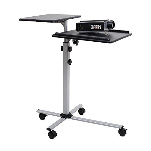 FrontStage TS-2 Beamertisch Medienwagen (für Beamer Laptops und Projektoren mit 2 Ablageflächen, stufenlos höhenverstellbar, stufenlos neigbar, auf Rollen) schwarz