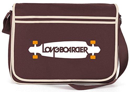 Shirtstreet24, Longboarder, Skateboard Retro Messenger Bag Kuriertasche Umhängetasche Braun