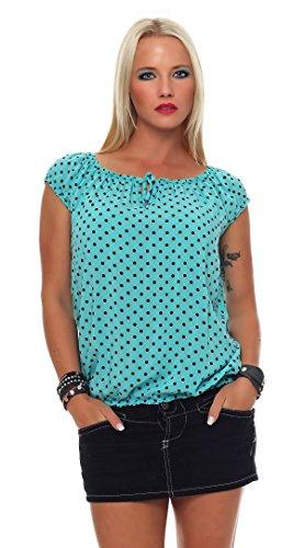 Zarmexx Mesdames Chemisier à Manches Courtes Carmen Blouse Top Chemise Blouse DÉté Polka Dots (Taille Unique, 38-42) Turquoise