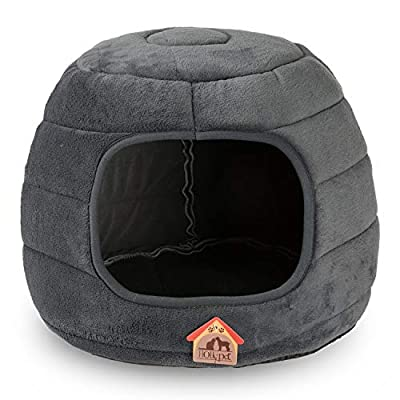 Hollypet Coral Velvet Self-Warming 2-in-1 Foldable Cave Shape High Elastic Foam Pet Cat Bed for Cats and Small Dogs from Hollypet