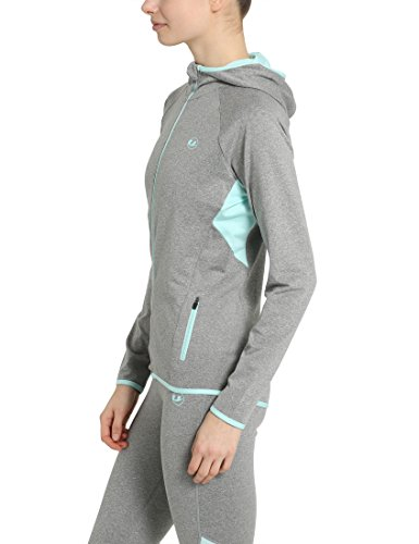 Ultrasport Damen Kapuzenjacke, Relax Fitness Sport, 1363 Grau-Melange/Aqua