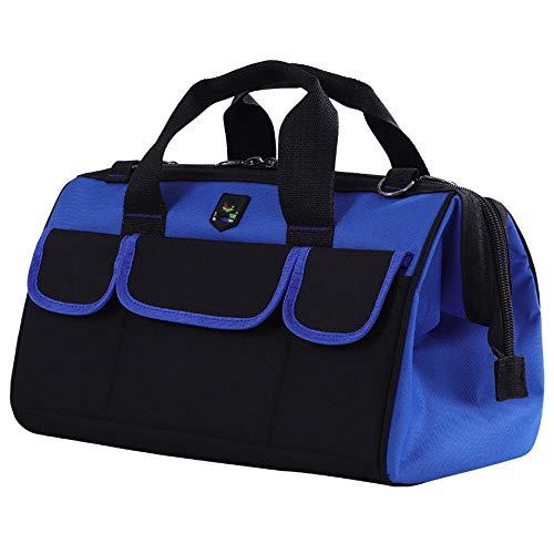 Heavy Duty-Werkzeugkoffer Werkzeuge Speicherbeutel-Organisator for Hand / Power Tools mit Schultergurt, Zip-Top & Verschleißfeste Gummiunterseite zusammenklappbar Tote ( Farbe : Blau , Größe : 14inc ) -