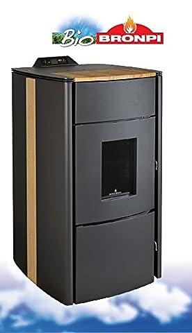 bronpi–Art. Carlota teak- termostufa multifluel pellet-nocciolo d'olive 21kW–Couleur noir et teck