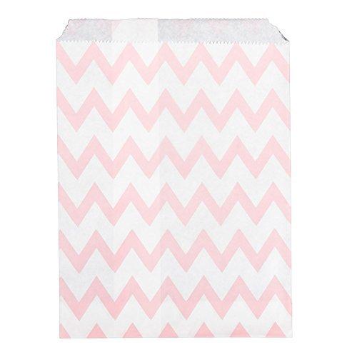 25 sachets à bonbons en Papier Rose/motif Chevron mariage Blanc
