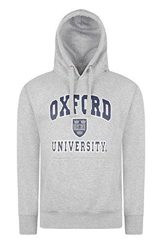 Oxford University Hoodie hochwertig bedruckt–Sweatshirt Offizielles Produkt + One Oxford University oder London England T-Shirt Gratis Gr. M, H-Grey -