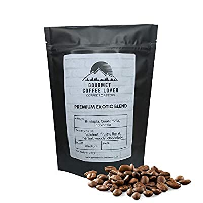 Premium Exotic Blend Coffee Beans Medium Roast 250g by Gourmet Coffee Lover