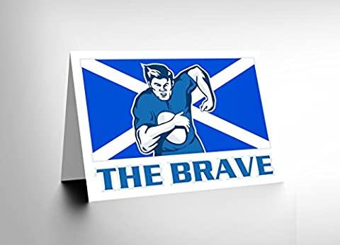 PAINTING SPORT SCOTLAND RUGBY FOOTBALL FLAG BRAVE BLANK GREETINGS CARD CL1142
