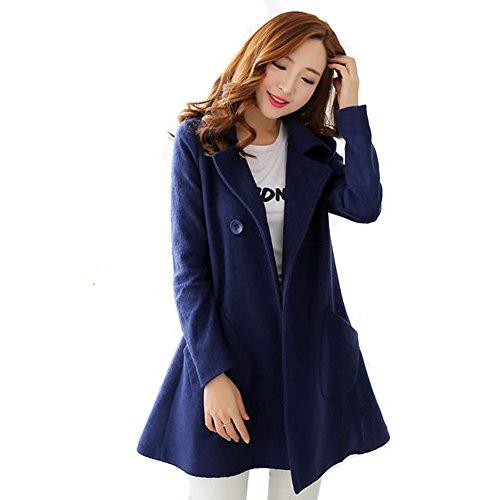 LOCOMO Frauen Uni Color Wolle Big Pocket Pea-Coat-ffj019yell, Blau